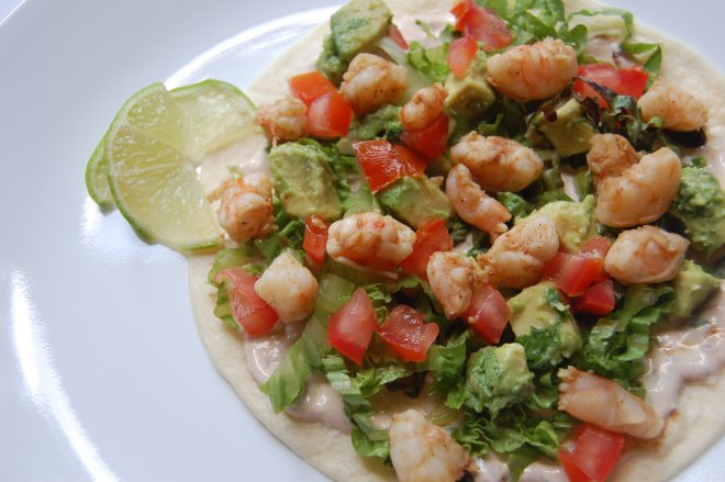 Cilantro Lime Shrimp Tacos with a Chipotle Cream Sauce