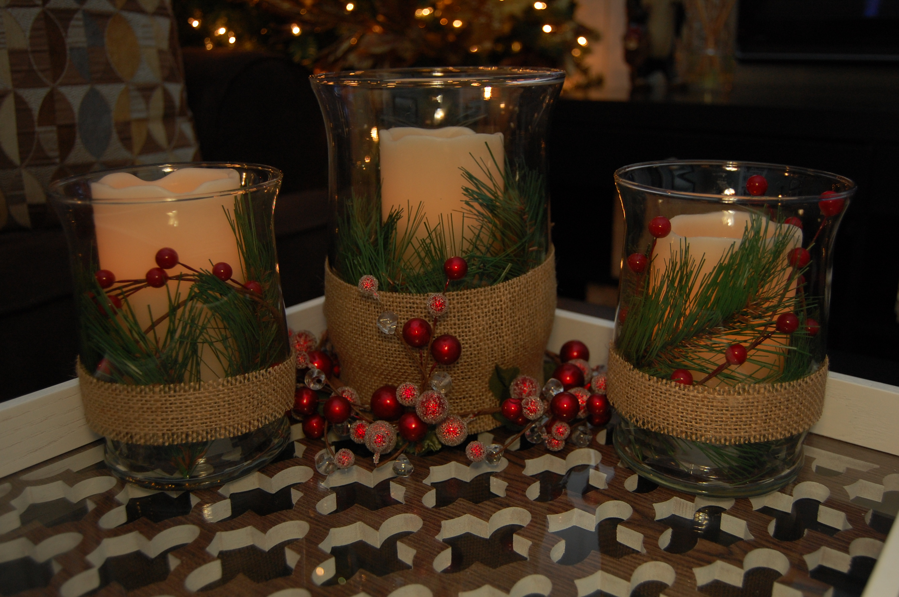 Christmas candle centerpiece made2style Small christmas centerpieces
