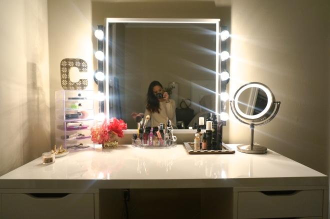diy makeup vanity made2style lighting t. Makeup Vanities With Lights Ikea Home Design Ideas Vanity Lighting
